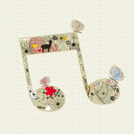 key card: Musical the note from a flower and butterflies  A vector illustration