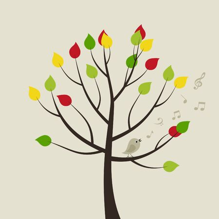 ash: The bird sings on a tree  A vector illustration
