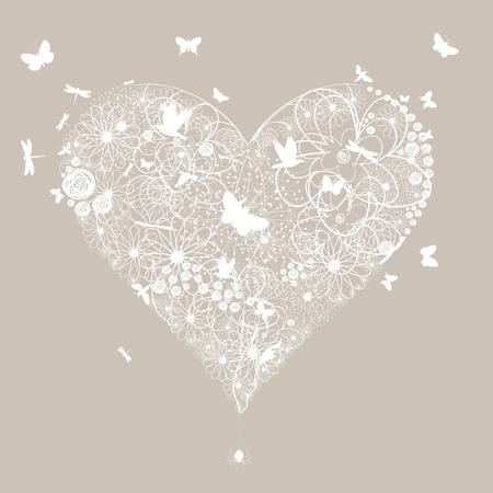 dragonflies: White wedding heart on a grey background  A vector illustration