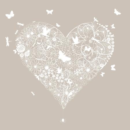 hart bloem: Witte bruiloft hart op een grijze achtergrond Een vector illustratie Stock Illustratie