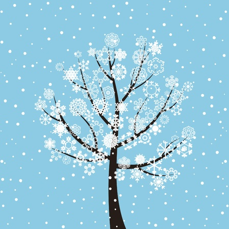 Winter tree on a dark blue background  A vector illustration Vector
