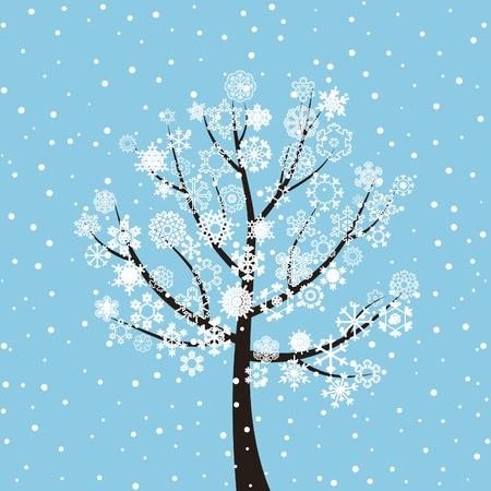 Winter tree on a dark blue background  A vector illustration Stock Vector - 13172896