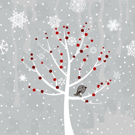 barren: Red berries on a white tree  A vector illustration