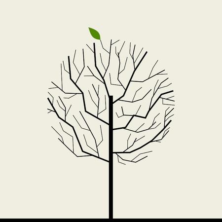 Árbol con una hoja verde Una ilustración vectorial