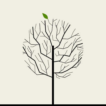 ash tree: Tree with one green leaf  A vector illustration