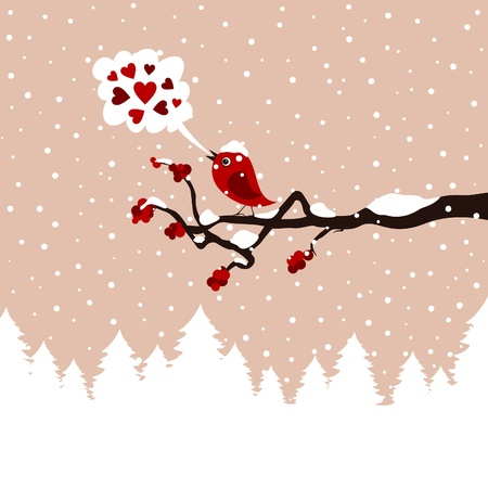 The bird sings on a tree in the winter  A vector illustration Vector