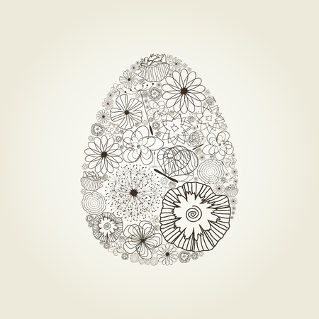 Easter egg from a flowers  A vector illustration Stock Vector - 13291379
