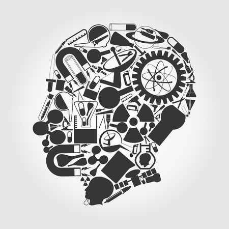 The head of the person consists of objects of science  A vector illustration Vector
