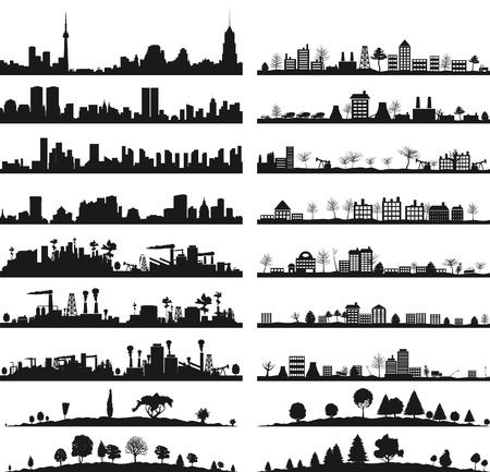 příroda: Sbírka města krajinky Vektorové ilustrace Ilustrace