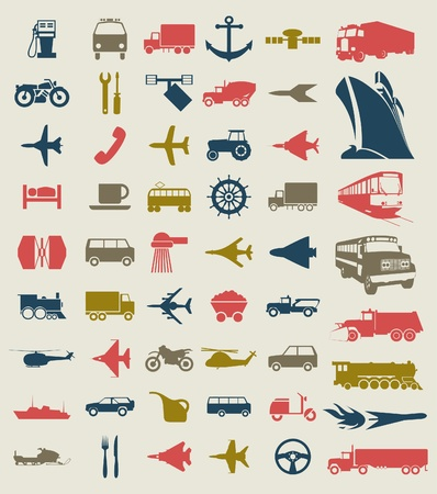 Collection of icons of transport  A vector illustration Vector
