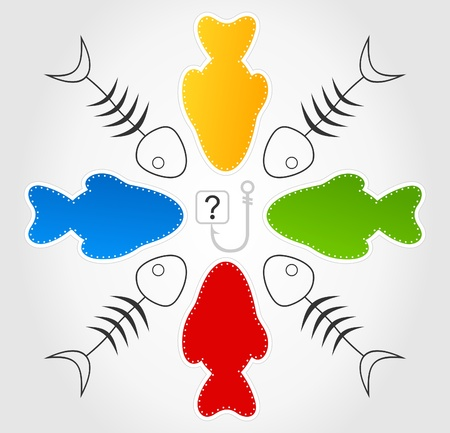 Fishes float on a hook  Vector