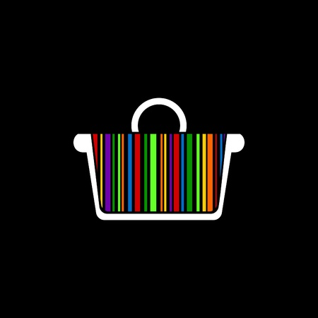 buy icon: Basket with a rainbow a stroke inside on a black background.