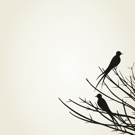 The bird sits on a tree branch Vector