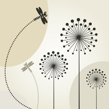 The dragonfly flies over a flower Vector
