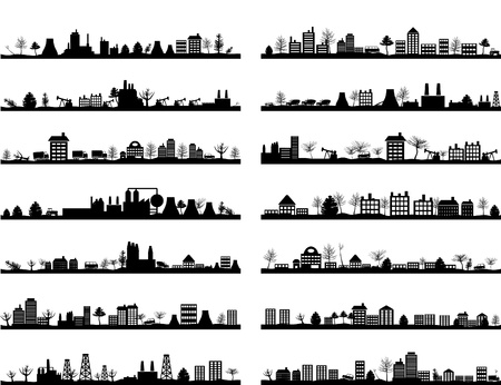 real estate icons: Collection of city landscapes. Illustration