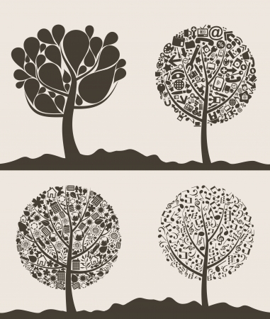 Collection of trees for design. Vector