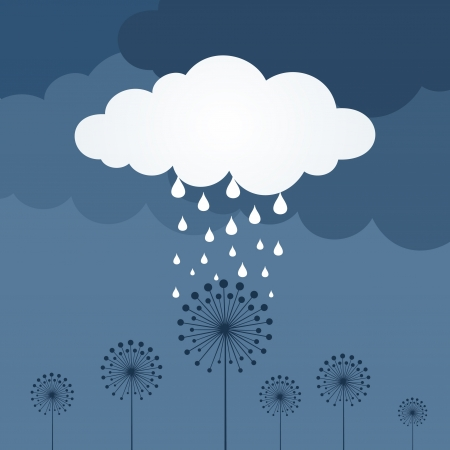 Rain from a cloud over a flower.  Vector