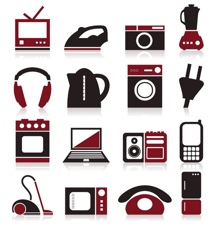 Set of icons on a theme home appliances