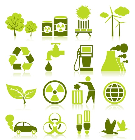 Set of icons on a theme ecology Vector