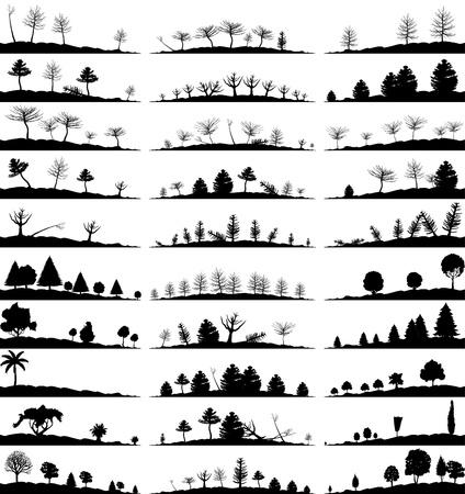 crone: Set of landscapes of woods   Illustration