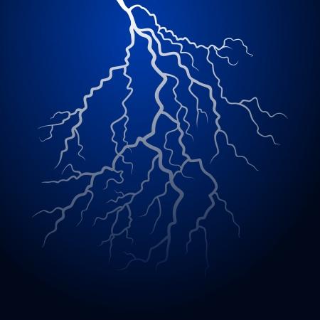 Lightning in the night sky  Vector