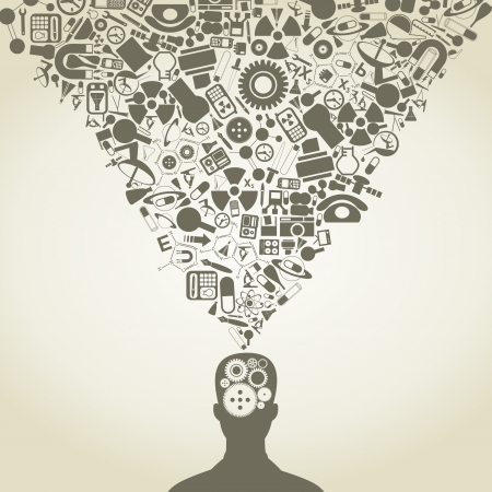 kopf: Der Kopf der Person besteht aus Objekten der Wissenschaft Illustration