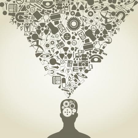 mente: La cabeza de la persona consiste en objetos de la ciencia Vectores