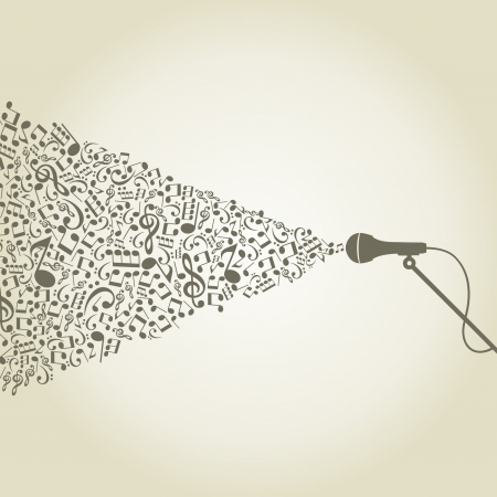 fender: From a microphone there is a sound of notes  A vector illustration