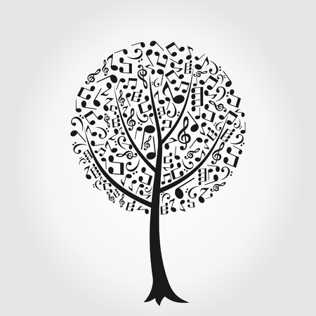 Tree from musical notes  Vector