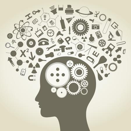 Het hoofd van de persoon die bestaat uit voorwerpen die van de wetenschap Vector Illustratie