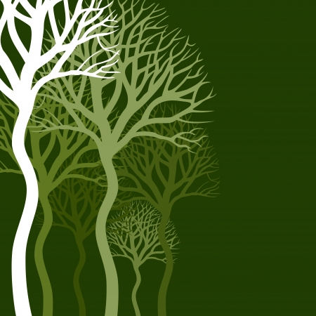 Wood of trees on a green background A vector illustration