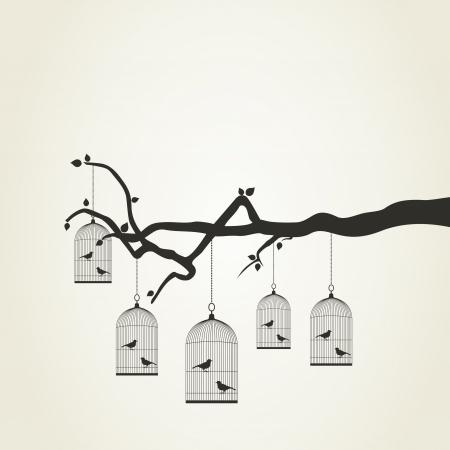 birds in tree: Bird in una gabbia su un ramo di albero, illustrazione vettoriale Vettoriali