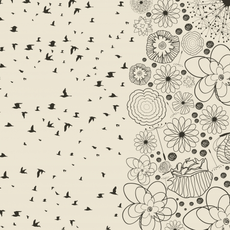 Birds take off from a flower  A vector illustration Vector