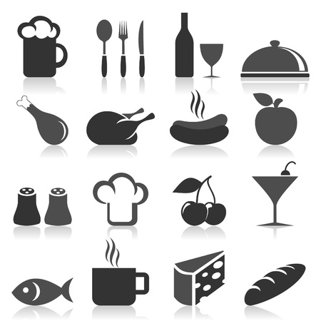 Set of icons on a theme food  A vector illustration Vector
