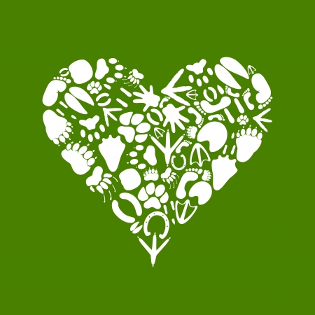 Heart collected from traces of animals  A vector illustration Vector