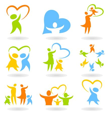 Collection of icons on a family theme  A vector illustration