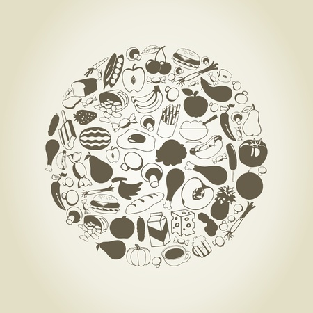 edible: Foodstuff in the form of a sphere  A vector illustration