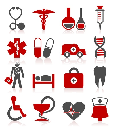 bandaging: Set of icons on a theme medicine  A vector illustration