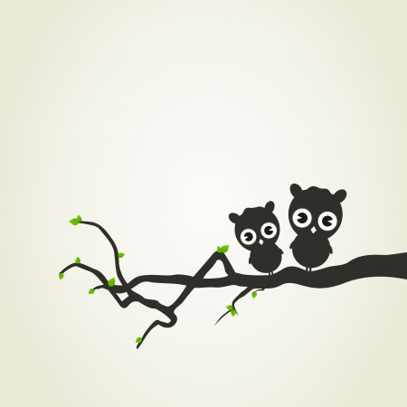 The owl sits on a tree branch  A vector illustration Vector