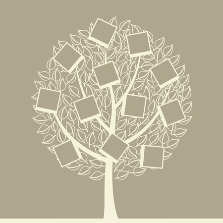 aspen: Tree with photos on branches  A vector illustration