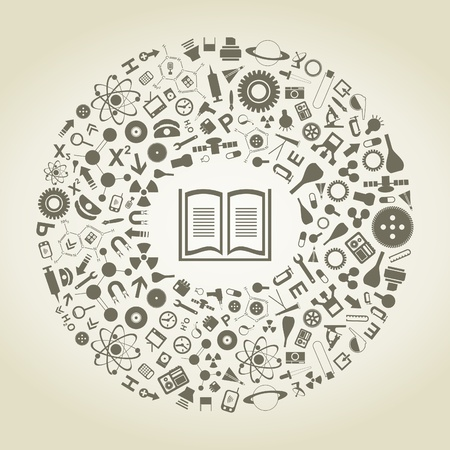 The book in a scientific circle Vector