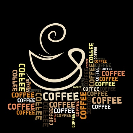 Coffee cup in words Vector