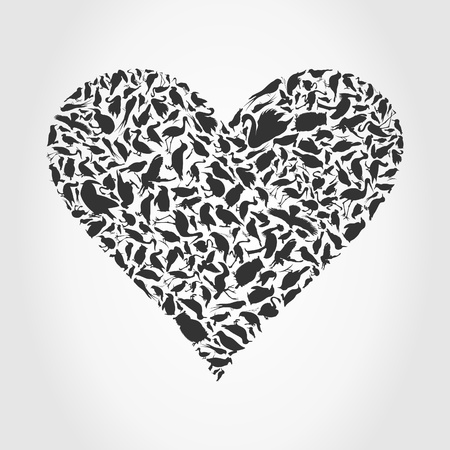 Grey heart collected from birds Vector