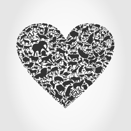 lion and lamb: Grey heart made of animals  A vector illustration
