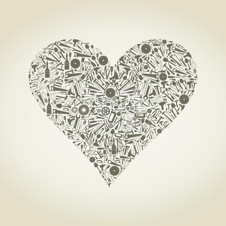 Heart collected from tools Vector