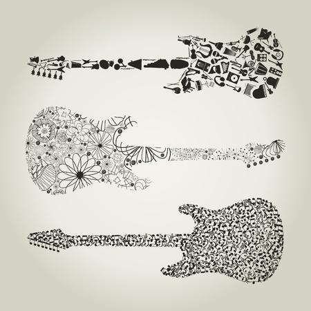 Gitarren-Set für Design eine Vektorgrafik