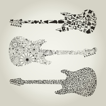 symphony orchestra: Set of guitars for design  A vector illustration