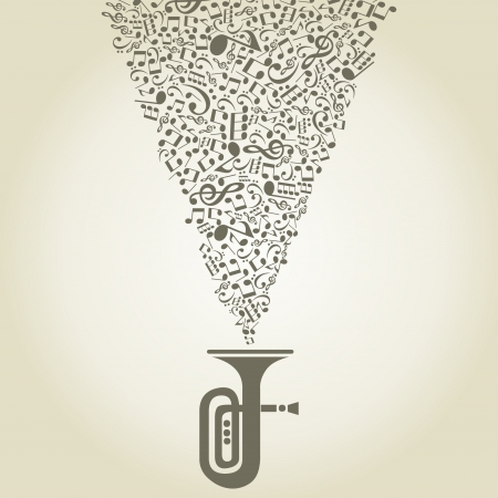 fender: Music of notes takes off from a pipe  A  illustration