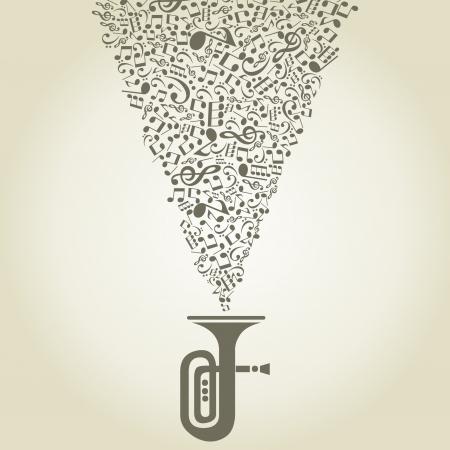 instruments de musique: Musique de notes prend son envol � partir d'un tuyau d'une illustration