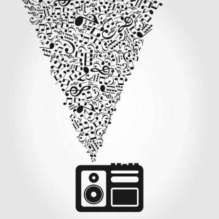 magnetofon: Magnetofon odtwarza muzykę ilustracji
